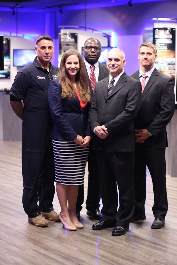 "From left, Mark Mata, Mary Norton, William Thomas, Kaj Phipps and Brandon Ogden, all based in Huntsville, Ala., with Intuitive. Mata is a senior analyst who served in the Army from 1990 to 2010, retiring as a chief warrant officer four. Thomas is a senior program analyst who served in the Army from 1987 to 2013, retiring as an chief warrant officer four. Thomas is working on a bachelor's degree at UMUC. Phipps is a senior analyst who served in the Navy from 1986 to 2006, retiring as an ""E-7 or Navy chief."" Ogden served in the Marine Corps from 2008 to 2013, leaving as an E-5. He is working on a bachelor's degree in mechanical engineering at University of Alabama in Huntsville using GI Bill benefits."