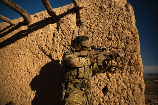 A U.S. special operations forces member conducts combat operations in support of Operation Resolute Support in Southeast Afghanistan in March 2019. The ongoing U.S. military mission in Afghanistan will be a focus of Capitol Hill hearings this week. (Spc. Jonathan Bryson/Army)