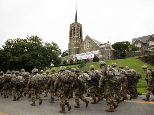 Army cadets from the class of 2022 conduct a 12-mile road march concluding six weeks of Cadet Basic Training on Aug. 13, 2018. Cases of unwanted sexual encounters among service academy members rose sharply in recent years, alarming lawmakers. (Matthew Moeller/Army)