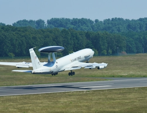 An Air Force E-3 Sentry Airborne Warning and Control System aircraft assigned to Tinker Air Force Base, Oklahoma, takes off in support of Exercise Baltic Operations at NATO Air Base Geilenkirchen, Germany, in June 2018. (Airman 1st Class Christopher Sparks/Air Force)