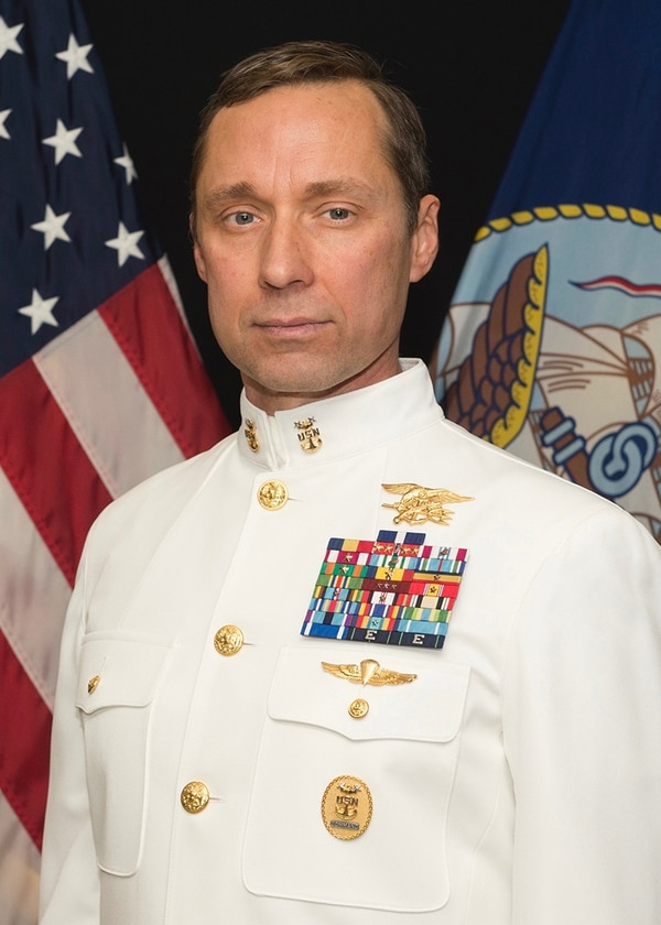 An undated official portrait of retired Master Chief Special Warfare Operator (SEAL) Britt K. Slabinski. President Donald Trump will award the Medal of Honor to Master Chief Slabinski during a White House ceremony on May 24, 2018, for his heroic actions during the Battle of Takur Ghar in March 2002 while serving in Afghanistan. (Navy)