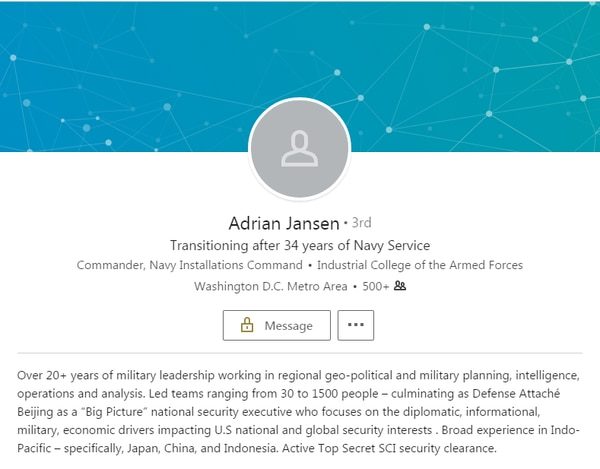 A recent screen shot of Rear Adm. Adrian Jansen's LinkedIn page notes his