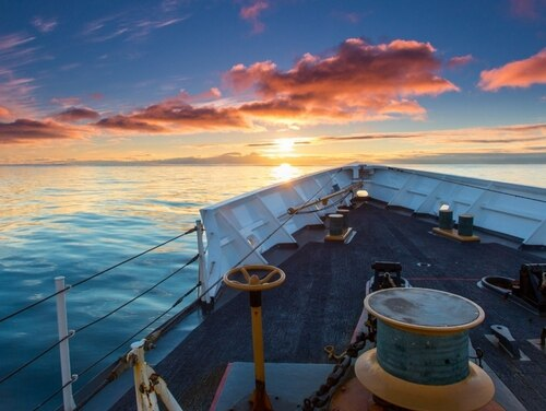 The Coast Guard cutter Munro sails Alaska's Bering Sea. Authorities allege that one of its crew members killed another in Dutch Harbor 11 months ago. (Coast Guard)