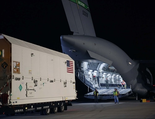 A fix that will allow ground systems to receive M-Code Early Use from GPS III satellites is on track for early 2020, according to Lockheed Martin. In this photo, the first GPS III satellite is being shipped to Cape Canaveral. (Photo courtesy Lockheed Martin)