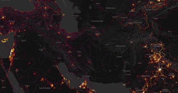 Strava's Global Heat Map tracks activity of its app users via GPS. Data such as this present a potential threat to the U.S. Department of Defense, said press secretary Dana white. (Strava)