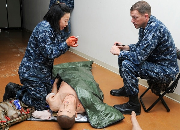 Roughly 30% of patients at Stroger Hospital are admitted to the trauma ward with wounds from firearms, compared to 4.2% national average for level 1 trauma centers, according to WSJ. Above, a simulated exercise at the Medical Education and Training Campus onboard Joint Base San Antonio - Fort Sam Houston, Texas. (PO1 Jacquelyn D. Childs/Navy)