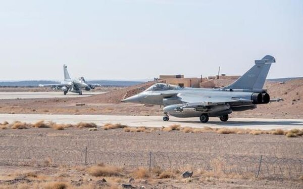 Rafale fighter jets arrive in Kuwait for the 2018 Pearl of the West exercise. (French Armed Forces Ministry)