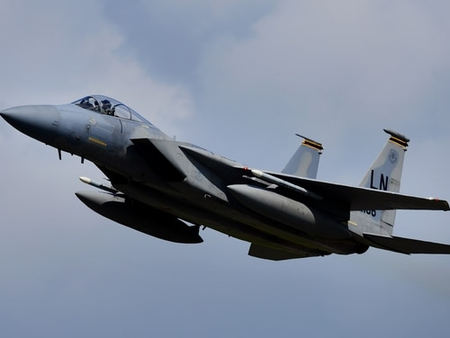 An F-15C Eagle like this one crashed Sunday into the water off Okinawa, Japan, officials said. (Tech. Sgt. Matthew Plew/U.S. Air Force)