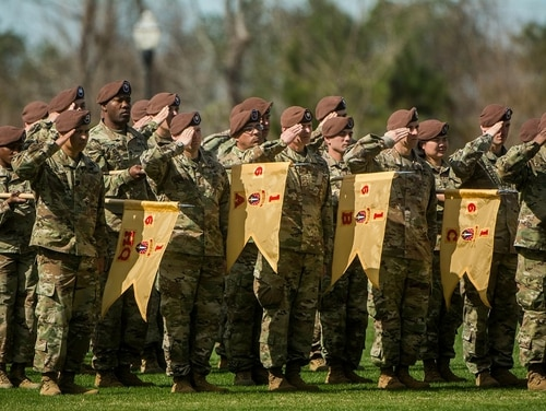 The 1st SFAB uncases its colors for an Afghanistan deployment in 2018. (6th Battalion, 1st SFAB)