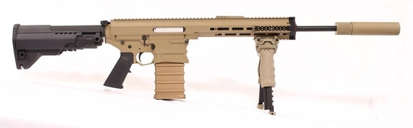 A profile view of the MARS/Cobalt Kinetics light machine gun, showing it with a suppressor.