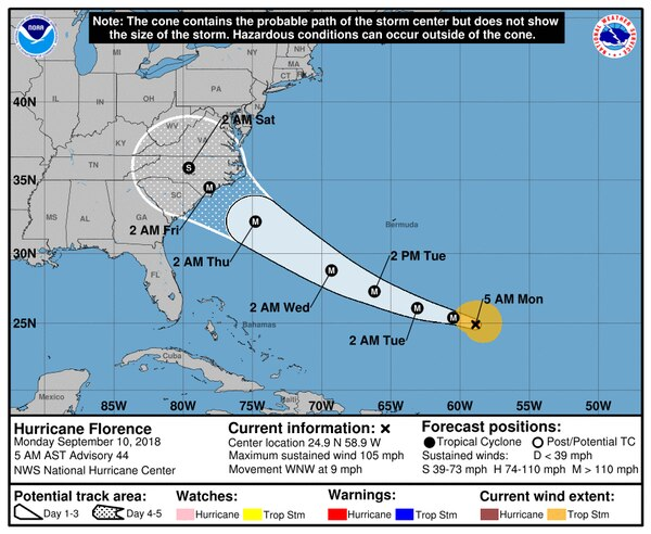 A projected map of Hurricane Florence from Sept. 11. (FEMA)