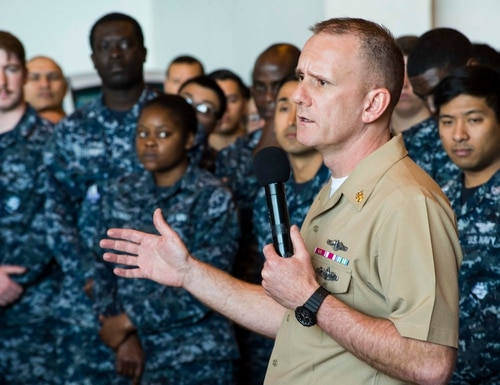 Master Chief Petty Officer of the Navy Steven Giordano provided his thoughts on the stretched-thin manning levels plaguing the fleet. (MC2 Christopher Gordon/Navy)