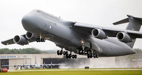 A C-5M Super Galaxy takes off at Dobbins Air Reserve Base in Marietta, Georgia. Groundwater near Georgia military bases could remain contaminated from a toxic firefighting foam used for decades by the Air Force. Recent tests at Georgia's three air bases show extensive environmental contamination. (Air Force)