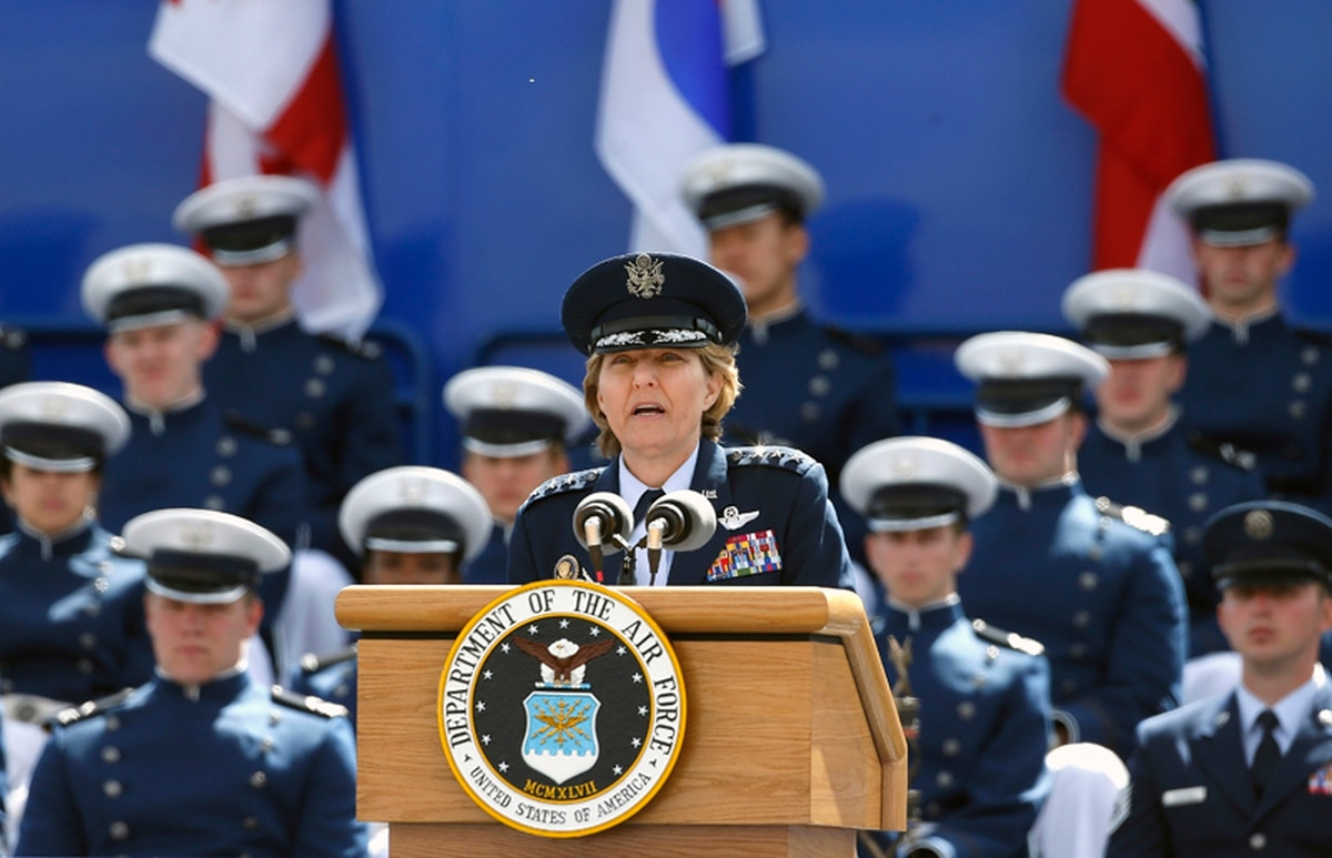 0cad466b42d U.S. Air Force Academy Superintendent Lt. Gen. Michelle Johnson speaks  during the graduation ceremony for the class of 2015, at the U.S. Air Force  Academy, ...
