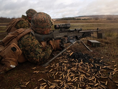 U.S. Marines with Special Purpose Marine Air-Ground Task Force- Crisis Response- Africa 19.1 fire a M240B machine gun during an attack on a live-fire range in Baumholder, Germany, (Cpl. Bethanie Ryan/Marine Corps)