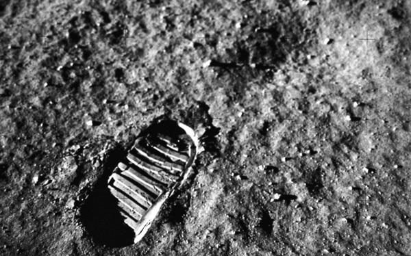 This is a close-up view of an astronaut's footprint in the lunar soil during the Apollo 11 mission. (NASA)