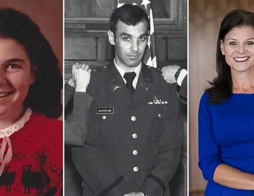 Jennifer Elmore at ages 13 and 48, flanking her father, now retired Army Maj. Gen. James Grazioplene, who in July 2020 pleaded guilty to sexual battery in a Virginia court for years of sexual abuse of his daughter. (Courtesy Jennifer Elmore)