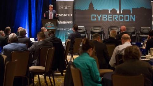 Sen. Sheldon Whitehouse, D-R.I., gives a keynote speech during Cybercon 2017 at the Ritz-Carlton Hotel in Pentagon City on Nov. 28, 2017. (Jeff Martin/Staff)