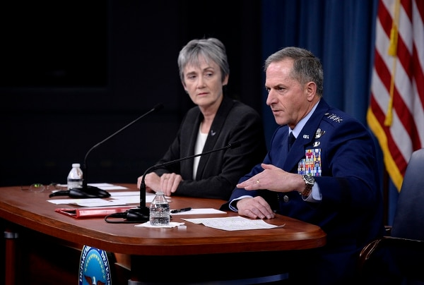 Secretary of the Air Force Heather Wilson and Chief of Staff Gen. Dave Goldfein talk to reporters during the State of the Air Force address Nov. 9 at the Pentagon. (Staff Sgt. Rusty Frank/Air Force)