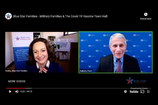 Kathy Roth-Douquet, CEO of Blue Star Families, left, and Dr. Anthony Fauci, the director of the National Institute of Allergy and Infectious Diseases, participate in a town hall. (screenshot via YouTube)