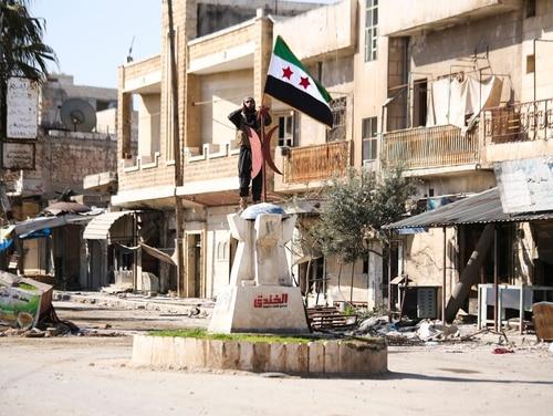 Turkish backed Syrian rebels enter the own of Saraqeb, in Idlib province, Syria, Thursday, Feb. 27, 2020. (Ghaith Alsayed/AP)