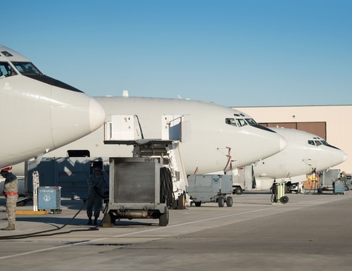 JSTARS aircraft sit on the flightline at Robins Air Force Base, Georgia, in October 2017. (Air Force)