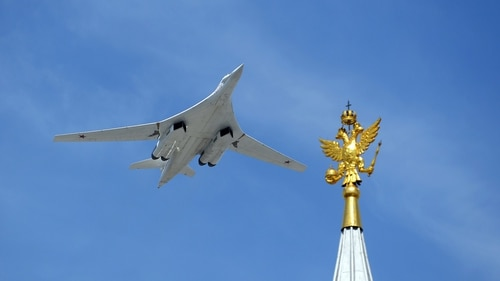 A Russian Tupolev Tu-160 Blackjack strategic bomber flies over Red Square during the Victory Day military parade in Moscow on May 9, 2015. (RIA Novosti/AFP via Getty Images)