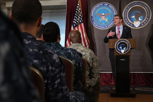 FORT MEADE, MD - MARCH 13: U.S. Secretary of Defense Ash Carter delivers remarks to an audience of U.S. Cyber Command troops and National Security Agency employees while visiting the NSA and command headquarters March 13, 2015 in Fort Meade, Maryland. Carter emphasized the importance of military cyber operations by making this his first visit with soliders, sailors, airmen and Marines inside the United States since becoming defense secretary in February 2015. (Photo by Chip Somodevilla/Getty Images)