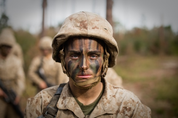 Maria Daume, who was born in a Russian prison and grew up on Long Island, New York, was one of the first women to graduate boot camp with an infantry contract. (Staff Sgt. Greg Thomas/Marine Corps)