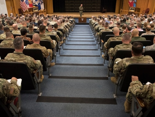 Joint Chiefs Chairman Marine Corps Gen. Joe Dunford speaks to students at the Army War College in Carlisle, Pa., on Dec. 7, 2017. New rules for for-profit colleges collecting education benefits from troops and veterans could mean big changes to the industry in coming years. (Petty Officer 1st Class Dominique A. Pineiro/Navy))