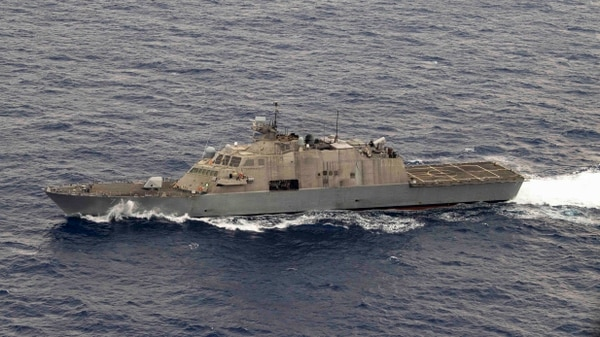 The Freedom-class littoral combat ship Detroit sails through the Caribbean Sea. Detroit suffered a casualty to its propulsion system and is returning to port in Florida for repairs. (MC2 Anderson Branch/U.S. Navy)