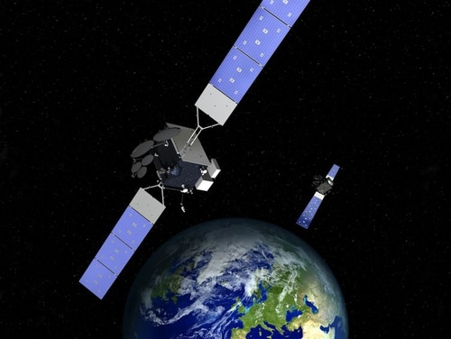 A rendering of two satellites for Space Norway's Arctic Satellite Broadband Mission systems that will host technology that will provide the Air Force's satellite communications capability in the North polar region. (Northrop Grumman)