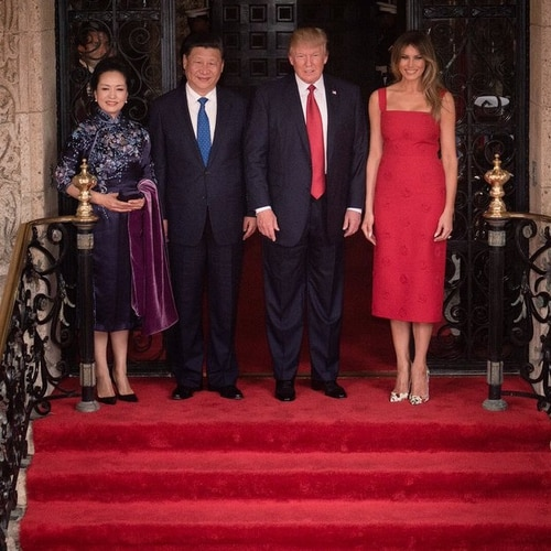 President Donald Trump and Chinese President Xi Jinping with their spouses, Madame Peng Liyuan and Melania Trump, pose for a photo at the Mar-a-Lago resort in Palm Beach, Florida, in April 2017. U.S. and Chinese officials scuffled over the
