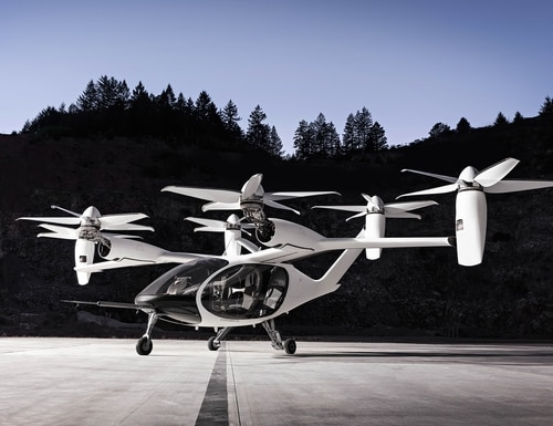 The U.S. Air Force is interested in nontraditional electric vertical-takeoff-and-landing technologies, like this Joby Aviation aircraft, that are being pioneered by commercial companies. (Joby Aviation)