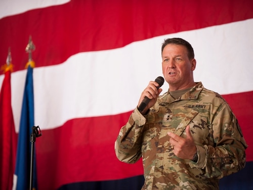 Army Maj. Gen. Courtney P. Carr, adjutant general of the Indiana National Guard, speaks to a crowd on July 27, 2018, at Fort Wayne, Indiana. (National Guard)
