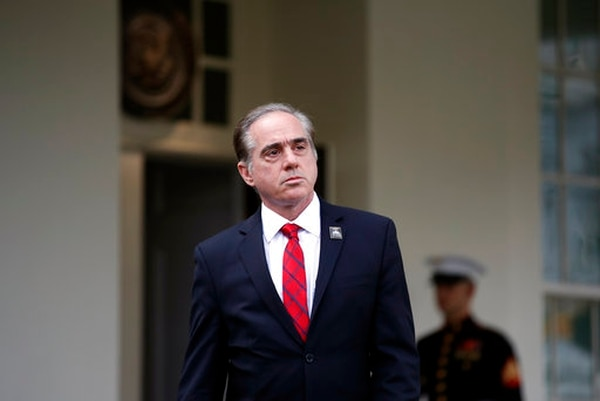 Veterans Affairs Secretary David Shulkin approaches to speak with the media at the White House on Nov. 1, 2017. A scathing inspector general's report this week blasted the secretary for multiple improprieties during an overseas trip last summer. (Alex Brandon/AP)