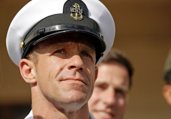 In this July 2, 2019, file photo, Navy Special Operations Chief Edward Gallagher leaves a military court on Naval Base San Diego. (Gregory Bull/AP)