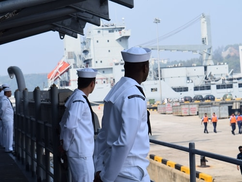 The Navy is unlikely to change the name of a cruiser named after a Confederate Civil War victory, a service official said Wednesday. Chancellorsville sailors are shown here manning they rails as they depart Malaysia in 2016. (Ensign Gee Jorde/Navy)