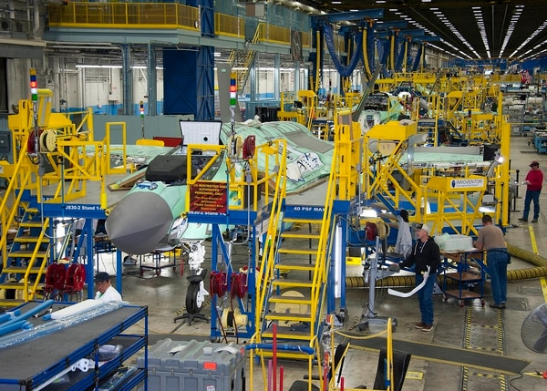 From the factory floor, Lockheed Martin employees work on the F-35 production line in Fort Worth, Texas. (Defense Contract Management Agency)