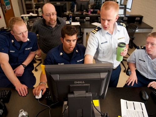 Coast Guard Academy cadets test their network connection April 19, 2012, during the 2012 Cyber Defense Exercise (CDX) at the U.S. Coast Guard Academy in New London, Conn. (Petty Officer 1st Class NyxoLyno Cangemi/Coast Guard)
