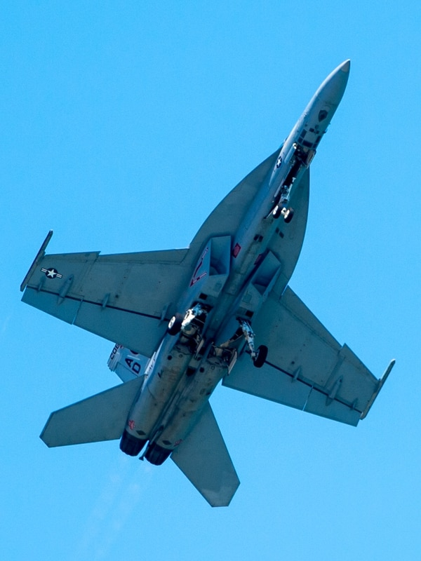 An F-18F Super Hornet flys over 16th Street in Ocean City during the Ocean City Air Show on Saturday, June 18.