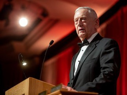 Former Defense Secretary and commander of U.S. Central Command, James Mattis accepts the William J. Donovan Award from the OSS Society.