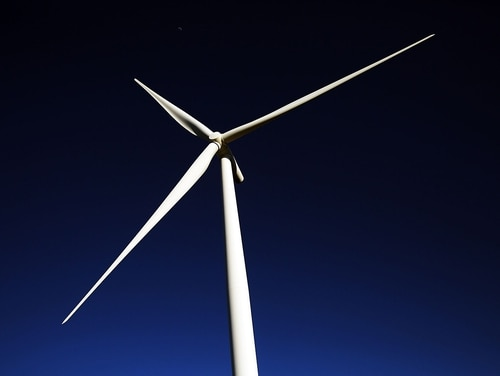 A wind turbine is viewed at a wind farm on March 27, 2015, in Taft, Texas. (Spencer Platt/Getty Images)