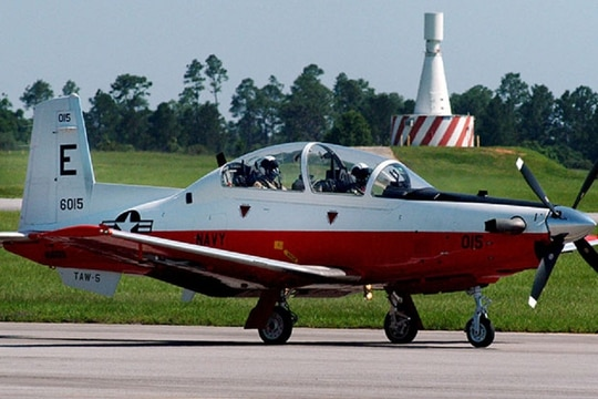 A student pilot taxis a T6-B Texan II at Naval Air Station Whiting Field in Florida. A Navy Texan II like this one, which was flown out of Whiting, crashed into a house in Alabama Friday afternoon, killing both service members aboard, Navy officials say. (Navy)
