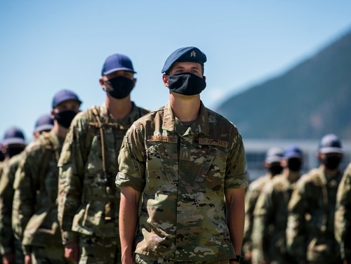 Air Force Academy cadets are seen Aug. 7, 2020, at Colorado Springs, Colo. (Trevor Cokley/Air Force)