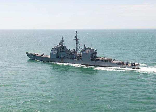 The Ticonderoga-class guided-missile cruiser Princeton transits the Strait of Malacca on Feb. 5, 2021. (MC2 Greg Hall/U.S. Navy)