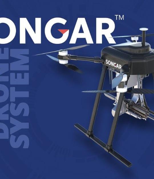 The Songar Armed Drone System featuring an underslung light machine gun (Photo Asisguard)