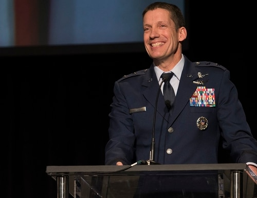 Then-Maj. Gen. Robert Skinner of the Air Force speaks at the 2018 Rocky Mountain Cyberspace Symposium in Colorado Springs, Colo. Skinner was recently promoted to a three star and took over the Defense Information Systems Agency. (Dave Grim/U.S. Air Force)