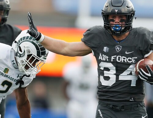 Air Force fullback Cole Fagan runs past Colorado State cornerback Dajon Owens for a long gain in the first half Thursday at Air Force Academy, Colo. (David Zalubowski/AP)