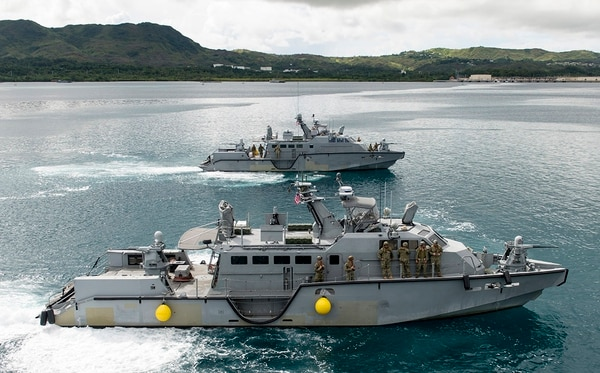 A Mark VI patrol boat assigned to Coastal Riverine Group 1 operates during a proof of concept exercise. The Navy is opening up 18 lieutenant billets to command these boats and another six O-4 billets to command the three-boat companies (IT1 Gregory L. Parker/Navy)